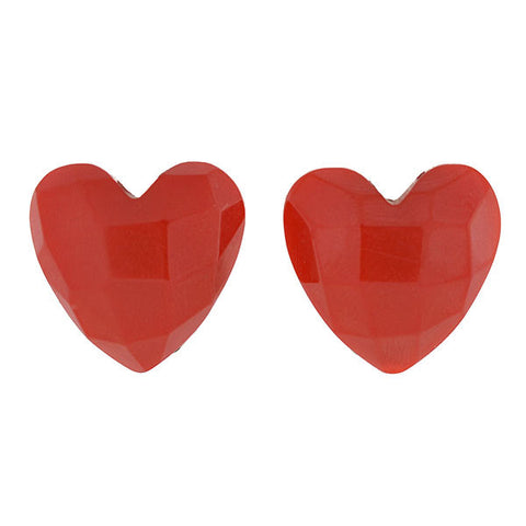 Retro Heart-Shaped Bakelite Clip Earrings