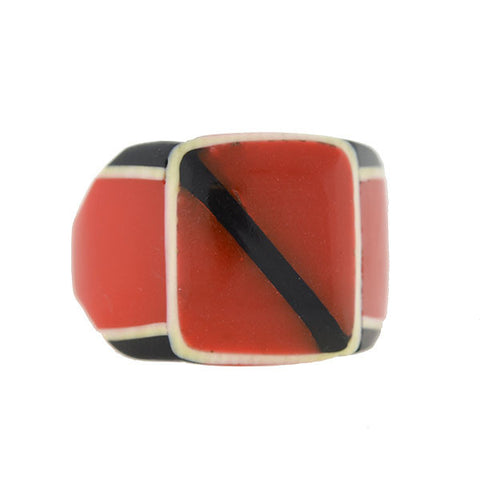 Art Deco Red, Black & White Layered Celluloid Ring