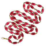 Art Deco Long Brass & Ruby Glass Link Necklace