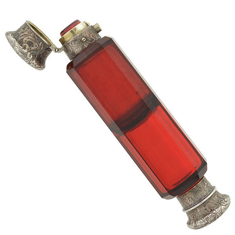 Art Deco Sterling & Red Glass Perfume Bottle with Box