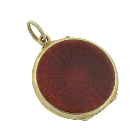 MARIUS HAMMER Art Deco Sterling & Red Guilloché Enamel Locket