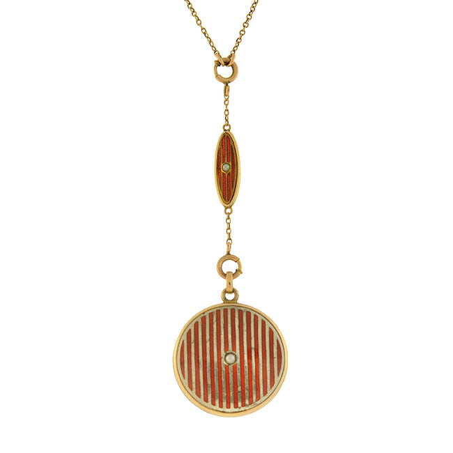 Art Deco Gold-Filled Red Enamel & Pearl Locket Necklace