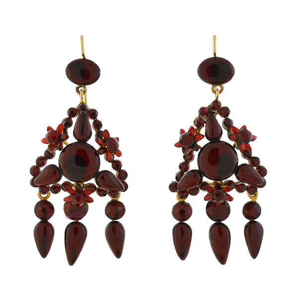 Late Victorian Dramatic Red Vauxhall Glass Earrings