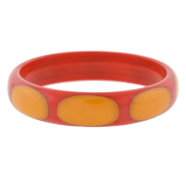Art Deco Red & Yellow Injected 8 Dot Bakelite Bangle Bracelet