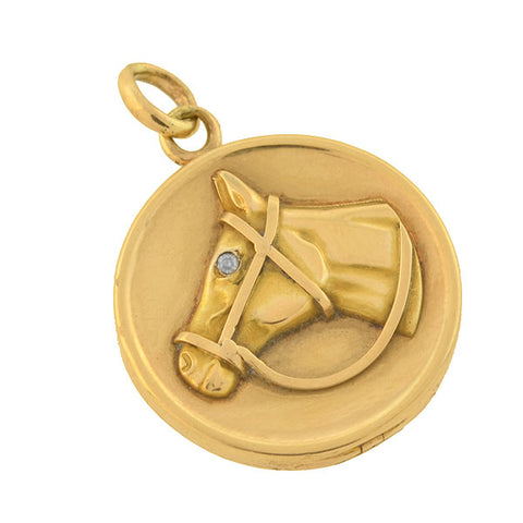 Late Victorian 14kt Gold Equestrian Horse Head Locket