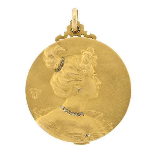 Art Nouveau 18kt & Diamond Repousse Cherub Locket