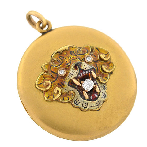 Victorian 14kt Diamond & Enamel Lion Locket