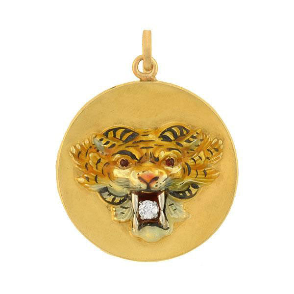 Victorian 14kt Diamond & Ruby Enameled Tiger Locket