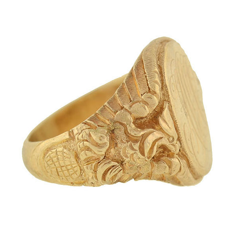 Victorian 14kt Eagle and Globe Repousse Signet Ring