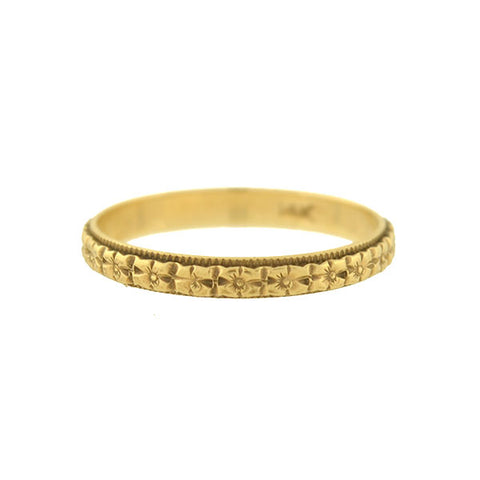Edwardian 14kt Carved Floral Band