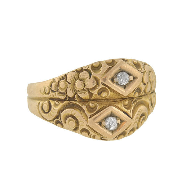 Victorian 14kt Floral Repousse & Diamond Double Band