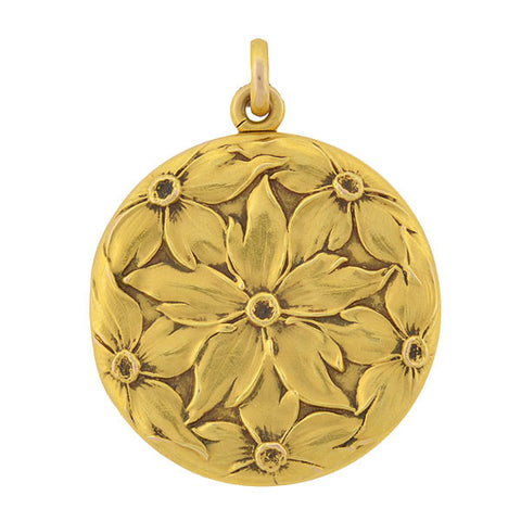Art Nouveau 14kt Gold & Enamel Locket w/ Diamond