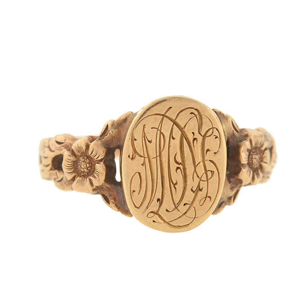 Victorian 14kt Floral Repousse Signet Ring