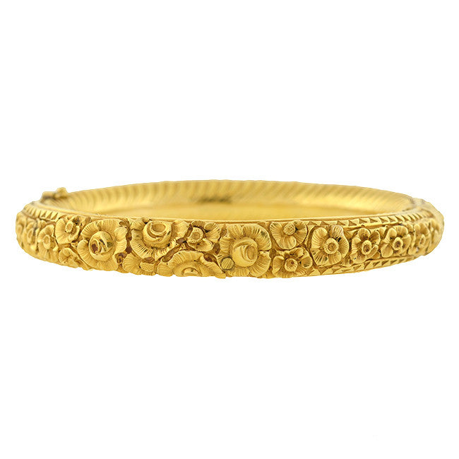 Art Nouveau 18kt Repousse Flower Motif Bangle Bracelet