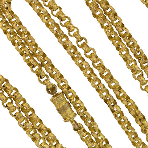 Victorian Gold Filled Textured Link Chain Necklace 37""