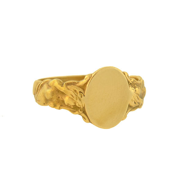 Victorian 14kt Yellow Gold Mermaid Signet Ring