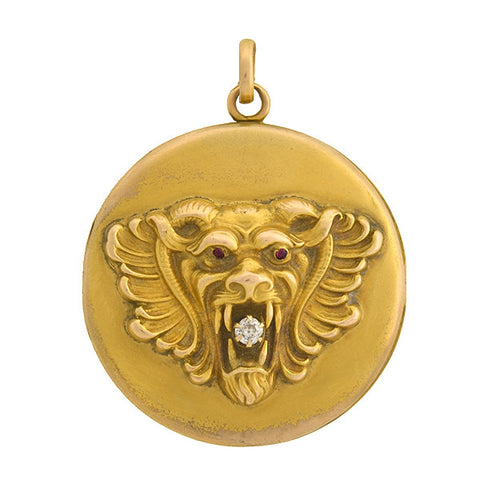 Victorian 14kt Gold & Diamond Lion's Head Locket