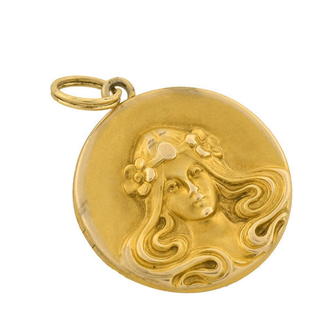 Art Nouveau 14kt Repousse Locket with Woman
