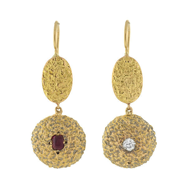 Art Nouveau 14kt Ruby & Diamond Textured Earrings