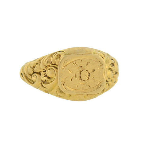 Victorian French 18kt Engraved Repousse Signet Ring