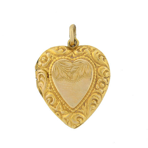 Late Victorian 9kt Gold Repousse Heart Locket