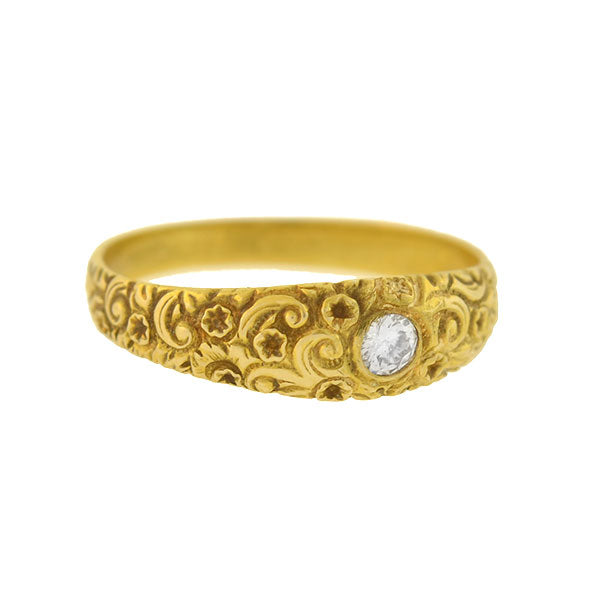Art Nouveau 14kt Gold Repousse Diamond Ring 0.15ct