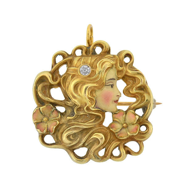Art Nouveau 14kt Diamond Enameled Woman Pin/Pendant
