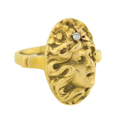 Art Nouveau 14kt Diamond Repousse Lady Ring
