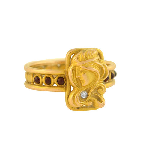 Art Nouveau 14k Garnet + Diamond Repousse Woman Ring