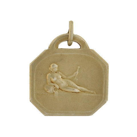 A. MERY Art Nouveau French Gilded Silver Swimming Sports Medal Pendant
