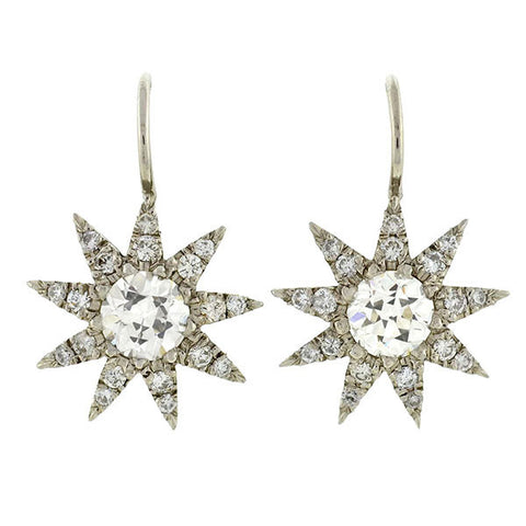Estate Platinum Diamond Starburst Earrings 2.50ctw