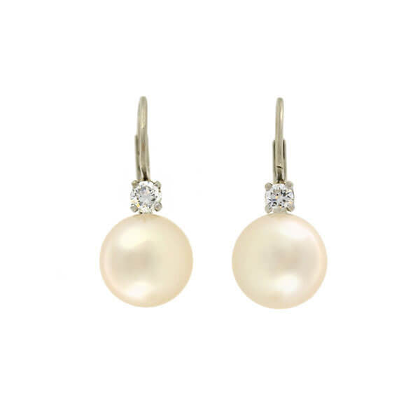 Retro 14kt Cultured Pearl Diamond Earrings 0.30ctw