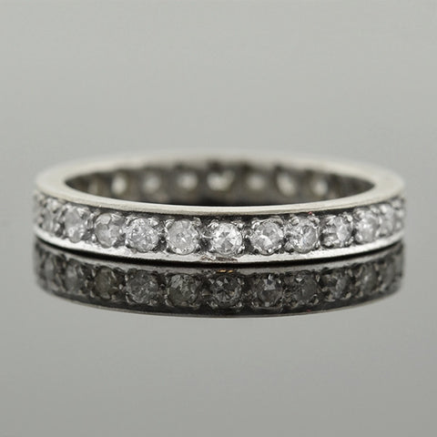 Retro Platinum Diamond Eternity Band .66ctw