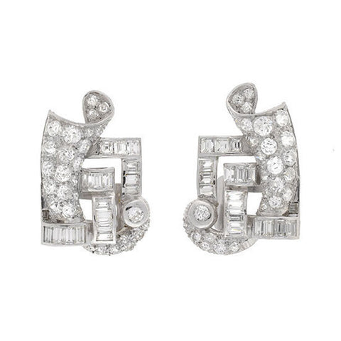 Retro Platinum & Diamond Geometric Clip Earrings 3.00ctw