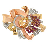 Retro Huge 14kt/Platinum Ruby & Diamond Bouquet Brooch