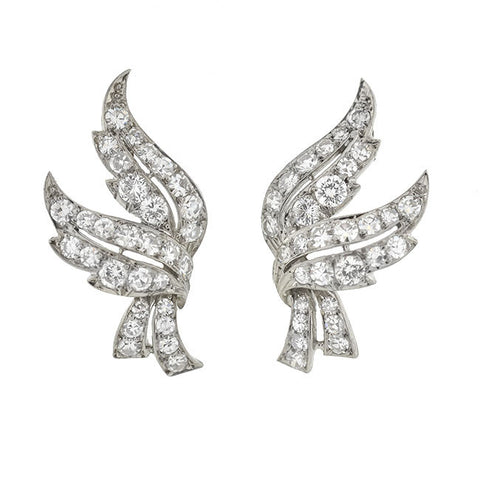 Retro 18kt White Gold & Diamond Wing Earrings