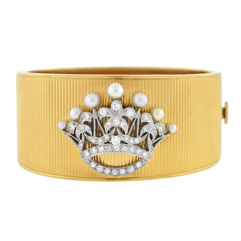 Retro 14kt/Platinum Diamond + Pearl Crown Bangle Bracelet