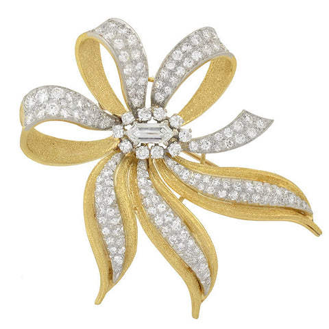 Retro Large 18kt Gold & Pavé Diamond Bow Pin 4.50ctw