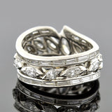 Late Retro Platinum Marquise & Baguette Band 3.20ctw