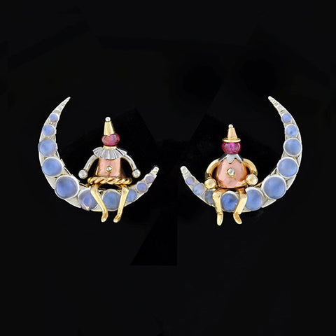 Retro 14kt Moonstone Clown & Crescent Moon Earrings