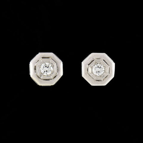 Retro 14kt Diamond Octagonal Stud Earrings 0.35ct