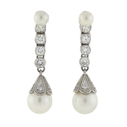 Retro 14kt Diamond & Cultured Pearl Drop Earrings