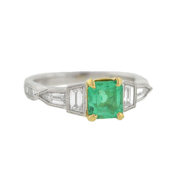 Retro Platinum/18kt Emerald + Diamond Ring