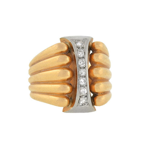 Retro 18kt Gold & Diamond Two-Tone Ridged Ring