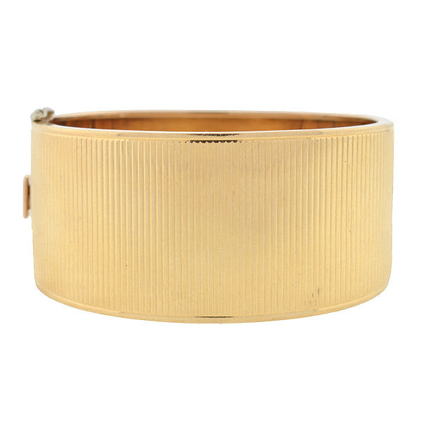 Retro 14kt Wide Ridged Gold Hinged Bangle Bracelet