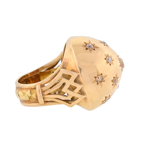 Retro Large 18kt Diamond Starburst Ring 1ctw