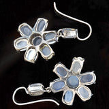 Retro Sterling Silver Moonstone Flower Earrings