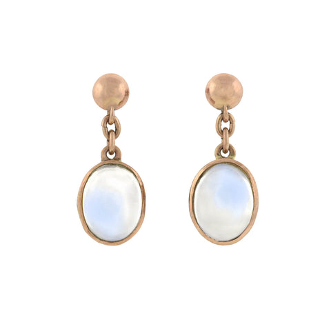 Retro 14kt Rose Gold + Moonstone Cabochon Dangle Earrings