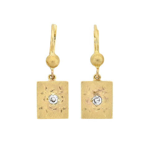 Retro 14kt Gold Diamond Etched Dangle Earrings