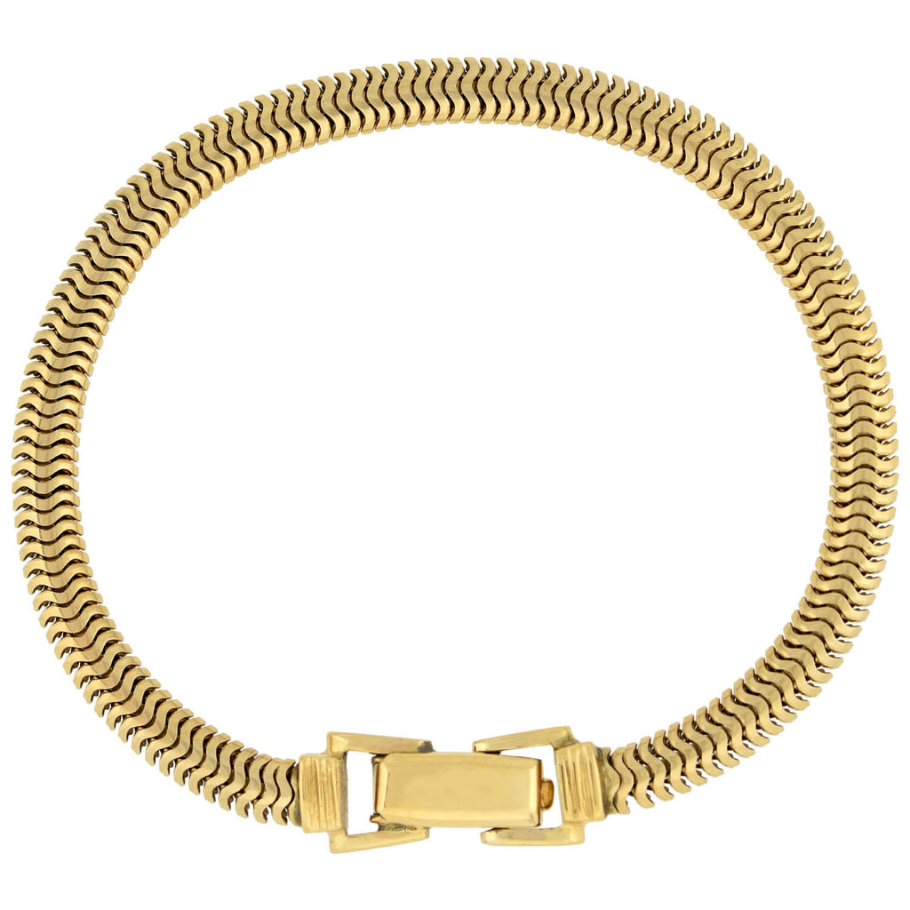Retro 14kt Gold Flexible Snake Chain Bracelet 12.8dwt